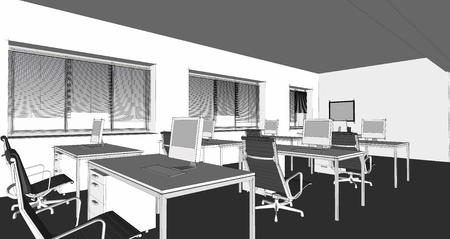 3d model: The modern office interior design sketch  3d render