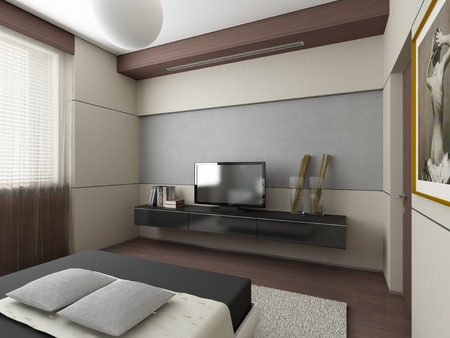 recreation rooms: 3d render of a modern interior exclusive design Stock Photo