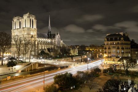Notre Dame de Paris and the Seine River in the Evening, Paris, France