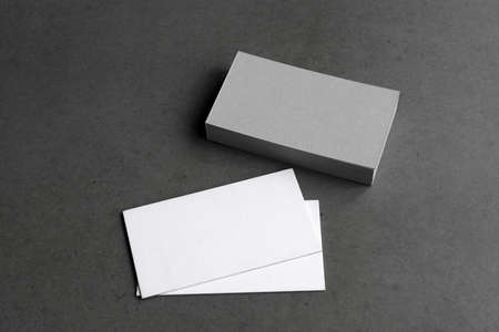 Business cards blank. Mockup on black background. Copy space for text. Stock fotó