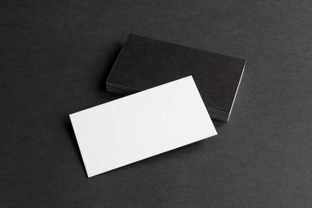 Business cards blank. Mockup on black background. Copy space for text. Stockfoto