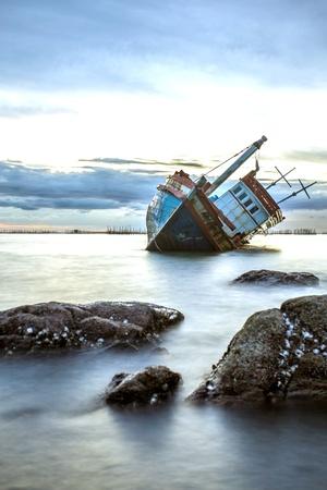aground: Boat aground Stock Photo