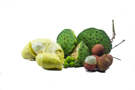 Lychee, durian, lotus seed on white background  Stock Photo