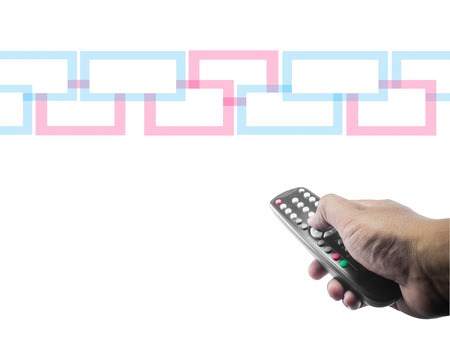 hand with a tv remote control on a white isolated background