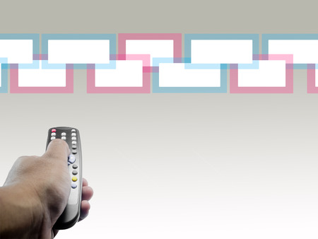 hand with a tv remote control on a Graphic  background
