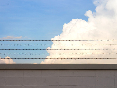 Barb wire fence and blue sky blackground Stock Photo