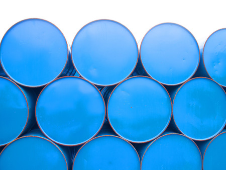 oil barrels or chemical drums stacked up photo