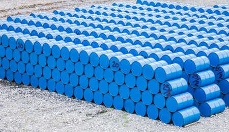 oil barrels or chemical drums stacked up Standard-Bild