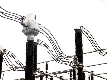 transformator: Impression network at transformer station in  high voltage