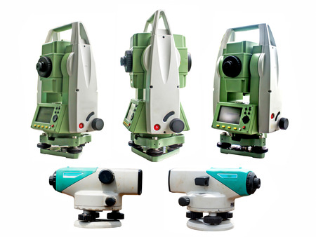 tacheometer: Surveyor equipment tacheometer or theodolite