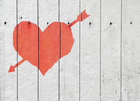 heart on white wood background Vintage Style photo