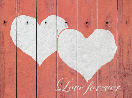 heart and word Love forever on white wood background Vintage Style photo