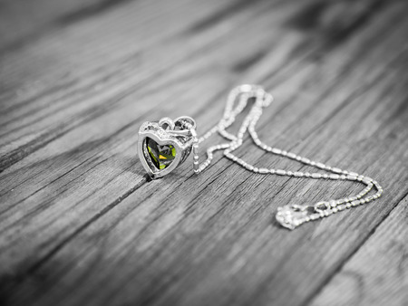 yellow heart: Valentines Day background with Romantic necklace Yellow heart