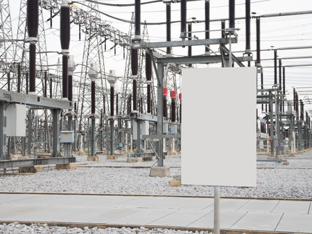 isolator insulator: White Signs over substation Stock Photo