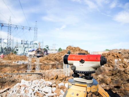 exact position: Surveyor equipment tacheometer or theodolite outdoors at construction site Stock Photo