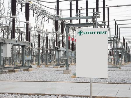 isolator insulator: White Signs over substation Stock Photo