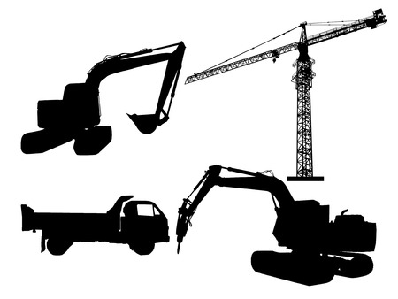 tower crane: Silhouette excavator and tower crane