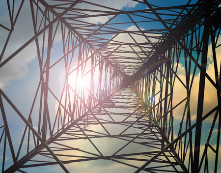 antennas: View from inside telecommunication tower with antennas. Stock Photo