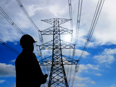 silhouette of engineers standing at electricity station 版權商用圖片 - 42158939