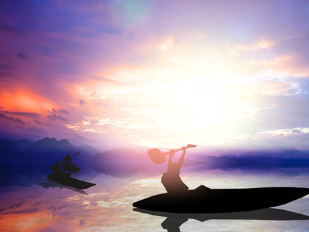 achievement concept: Sport and life achievements and success concept. Silhouette male athletes racing kayak paddle win lifted up with both hands to express their joy.