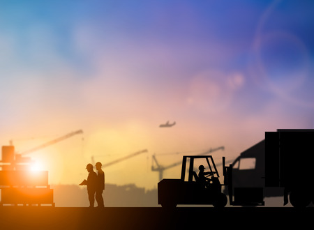 over voltage: Silhouette of high voltage equipment engineer check before boarding a shuttle to dock to construction site over blurred pastel background sunset  shipping. Heavy industry and Transportation concept.