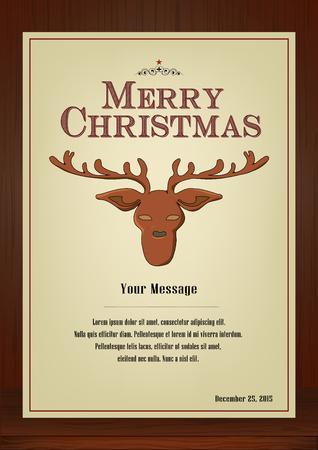 メリー クリスマス、パンフレットと木製の質感、トナカイ シンボルとビンテージ スタイル縦型デザインのグリーティング カードは、招待カード、