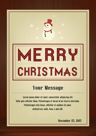 メリー クリスマス、パンフレットと木製の質感、雪だるまシンボルとビンテージ スタイル縦型デザインのグリーティング カードは、招待カード、  イラスト・ベクター素材