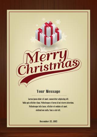 メリー クリスマス、パンフレット、プレゼント木製の質感を持つビンテージ スタイル縦型デザインのグリーティング カードは、招待カード、ポス  イラスト・ベクター素材