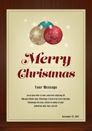 メリー クリスマス、パンフレットと木製の質感、クリスマス ボールとビンテージ スタイル縦型デザインのグリーティング カードは、招待状、ポス  イラスト・ベクター素材