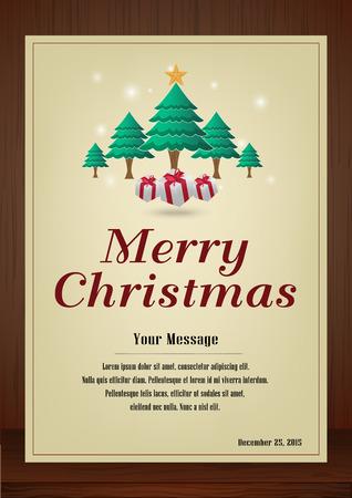 メリー クリスマス、パンフレットとクリスマス ツリーとギフト ボックス木製の質感、ビンテージ スタイルの縦型デザインのグリーティング カード  イラスト・ベクター素材