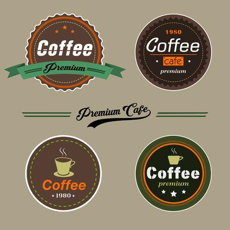 ビンテージ スタイルのベクトル コーヒー要素のセットには、コーヒー ショップ、レストランやコーヒー カップのプレミアム品質のロゴやアイコン