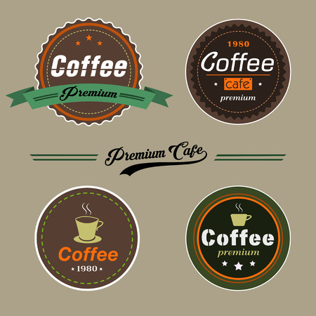 Set of Vector Coffee Elements in vintage style can be used as Logo or Icon in premium quality for Coffee shop, Restaurant or a cup of coffee. Vector,illustration