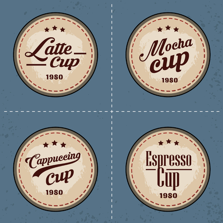 古い背景のビンテージ スタイルでベクター コーヒー要素のセットは、コーヒー ショップ、レストランやコーヒー カップのプレミアム品質のロゴ ラ  イラスト・ベクター素材