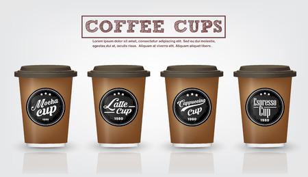 빈티지 커피 배지 및 흰색 배경에 커피 컵 로고 디자인의 컬렉션, 커피 숍, 레스토랑 .Vector, 그림 프리미엄 품질의 로고 또는 레이블 커피 컵으로 사용
