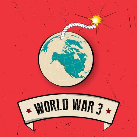 レトロな世界大戦 3 ポスター古い背景。ベクトル図