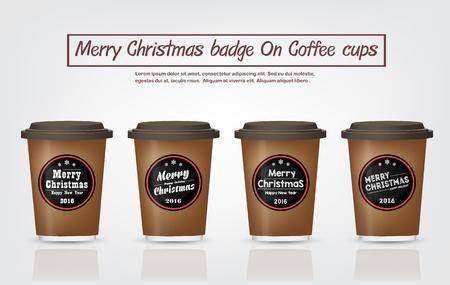 メリー クリスマスはビンテージ コーヒー バッジ デザインのコーヒー カップのコレクションはコーヒー ショップ、Restaurant.Vector,illustration のクリス