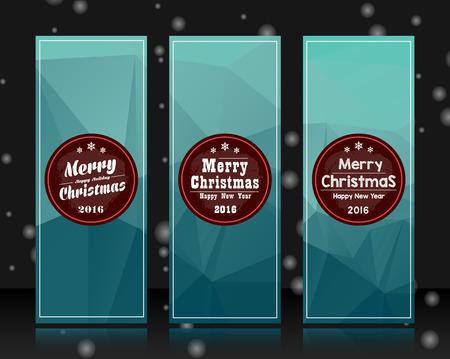 青い三角形の抽象的なパターン背景にクリスマス バッジをモダンなデザインのバナー テンプレートのセットです。クリスマス バナー、バッジ、カ