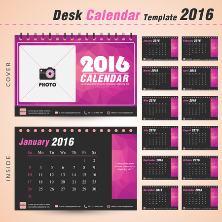 デスク カレンダー 2016 年ベクター デザイン テンプレート設定の 12 ヶ月することができますピンク ・ トライアングル抽象模様の新年業務休日や計