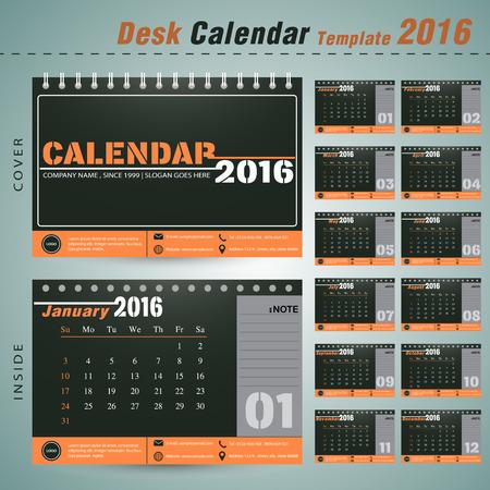 デスク カレンダー 2016 年ベクター デザイン テンプレート設定の 12 ヶ月ことができます新年会社オフィス ビジネス休日や計画ベクトル図の使用