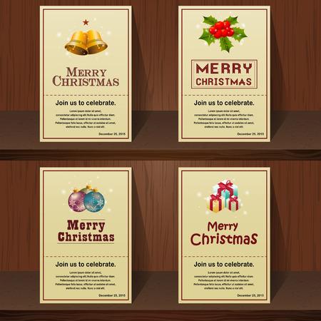 メリー クリスマスのヴィンテージのカード デザイン集木製の背景として使用できます招待カード クリスマス パーティーにあなたの家族のため。ベ  イラスト・ベクター素材