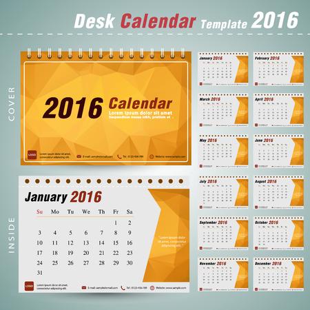 デスク カレンダー 2016 年ベクター デザイン テンプレート設定の 12 ヶ月することができます三角形の抽象的なパターンとビジネスの休日または計画
