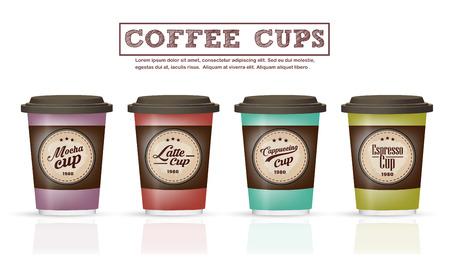 コーヒー バッジやロゴのデザインのコーヒー カップのコレクションのロゴとして使用することができます。 またはラベルのカフェ、喫茶店、レス  イラスト・ベクター素材