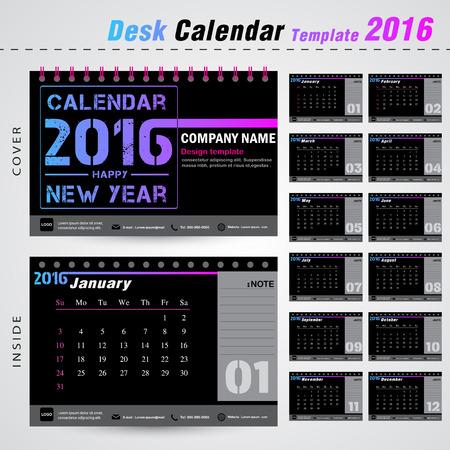 デスク カレンダー 2016年ベクトル デザイン テンプレート設定の 12 ヶ月ことができます office オブジェクト、新年、会社、ビジネス、休日や計画のベ