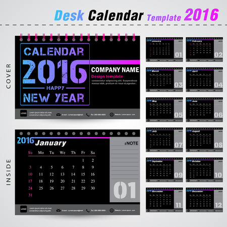 Desk calendar 2016 vector design template with Set of 12 Months Can be used for office object, new year,company,business,holiday or plan vector illustration Illustration