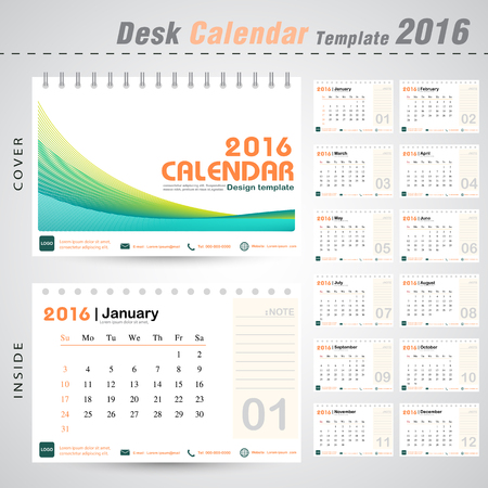 Desk calendar 2016 line abstract background design template with Set of 12 Months Can be used for office object, new year,company,business,holiday or plan vector illustration