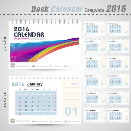 デスク カレンダー 2016年カラフルなライン抽象的な背景デザイン テンプレート設定の 12 ヶ月ことができます office オブジェクト、新年、会社、ビジ