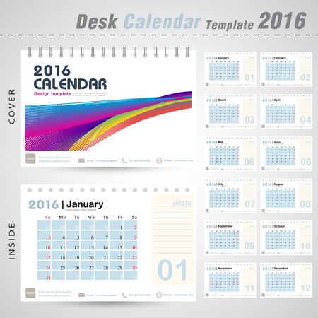 event planner: Desk calendar 2016 colorful line abstract background design template with Set of 12 Months Can be used for office object, new year,company,business,holiday or plan vector illustration