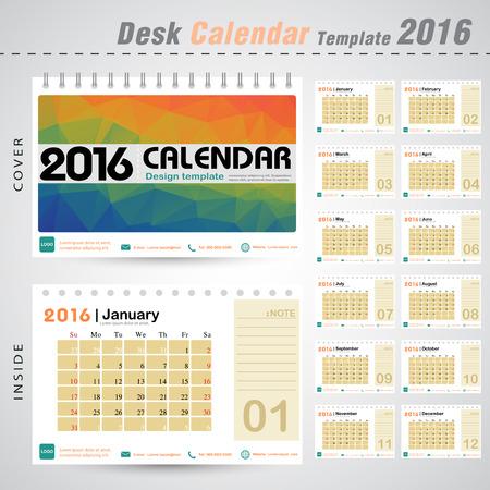 デスク カレンダー 2016 年ベクター デザイン テンプレートと三角形の抽象的なパターン背景 12 個セットでカラフルなヶ月使える新しい年、ビジネス  イラスト・ベクター素材