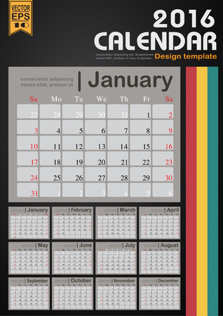 event planner: Calendar 2016 line background design template with Set of 12 Months Can be used for office object, new year,company,business,holiday or plan vector illustration