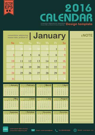 カレンダー 2016年緑色トーン背景デザイン テンプレート設定の 12 ヶ月ことができます office オブジェクト、新年、会社、ビジネス、休日や計画のベ